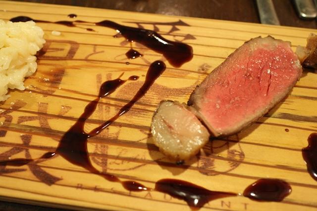 木下牧場さんの近江牛熟成リブロース肉のロースト村山さんの有機栽培米「ひのひかり」のリゾット添え