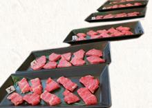 近江牛長寿牛、短角牛「草太郎」の赤身肉の食べ比べ。