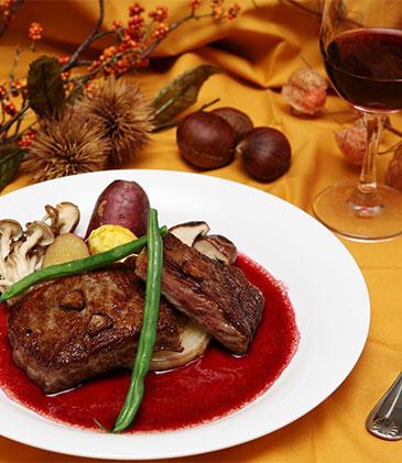 近江牛ステーキと赤ワイン